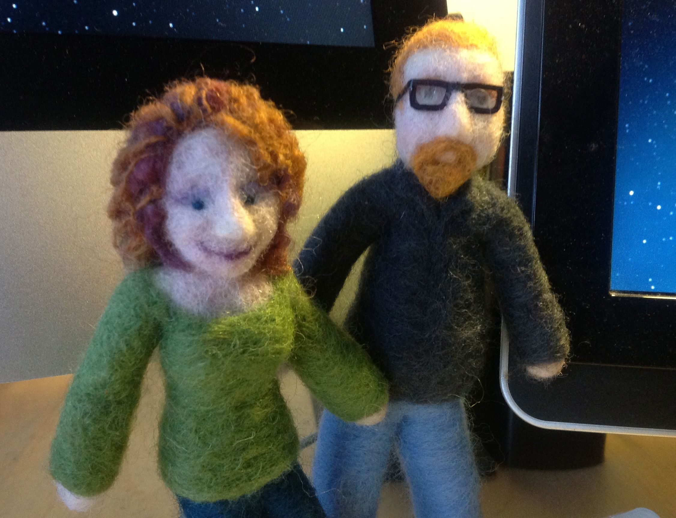 Amazing needle felt Brian & Georgina from Karikatzi.com